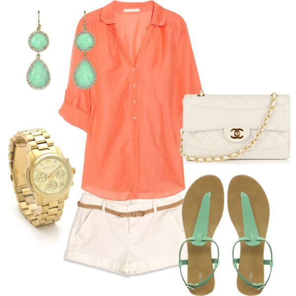 Summer: Color Mix, Colors Combos, Casual Style, Color Combos, Chanel Purses, Clothing, Summer Colors, Colors 3, Coral Mint