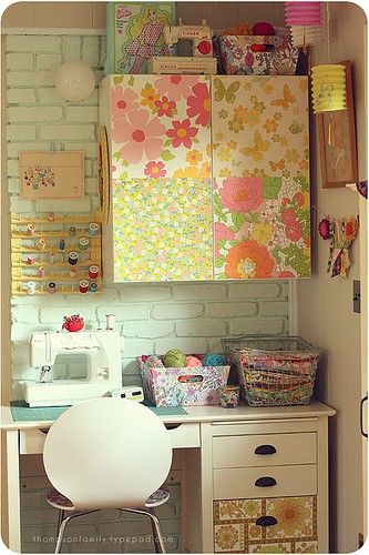 Small Sewing Space - Utilizing a small space with cabinets and shelves.