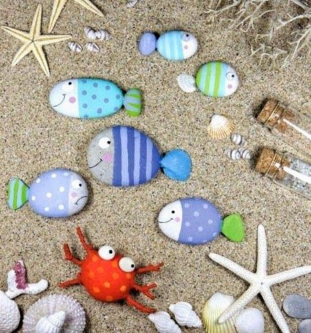 Paint Fishy beach rocks for the garden or anywhere! Great craft for the kiddos!