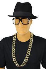 80's RUN DMC Rapper OLD SCHOOL Glasses Fedora Hat FAT Chain Costume