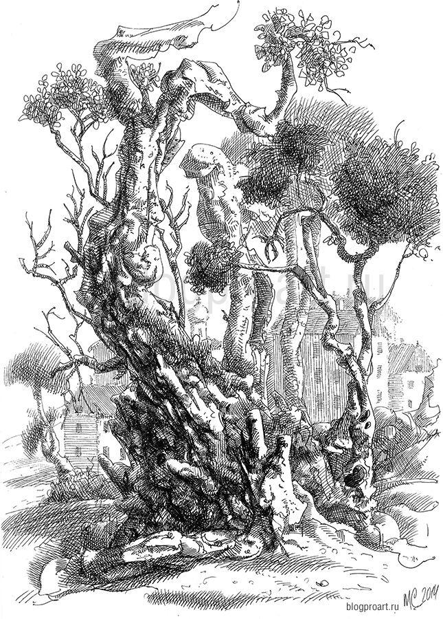 Рисунок деревьев, графика, рисунок ручкой, черно-белая иллюстрация, Меркулов Сергей