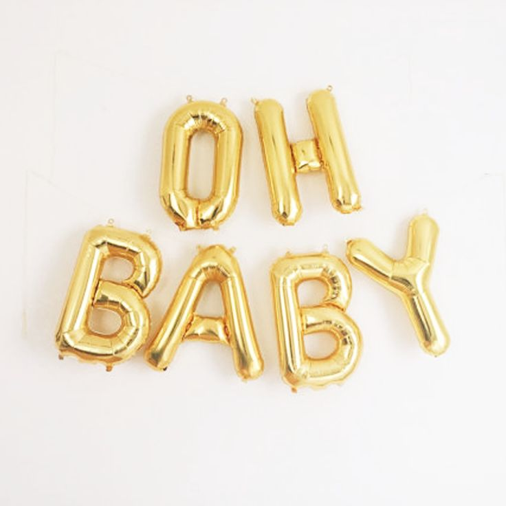 Celebrate baby with festive gold foil mylar balloon banners! We're seeing these trendy balloons pop up on walls, dessert tables, photo booth backdrops and more! Best of all, the balloons are re-inflat