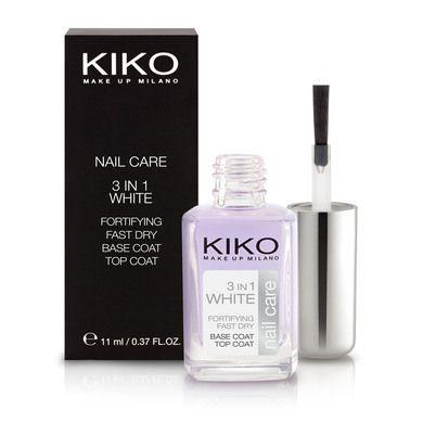 """""""3 in 1 White"""" di Kiko, uno smalto trasparente, rinforzante, sbiancante e antirottura. Si usa anche come base e top coat. E' uno smalto 5-free, formulato senza l'aggiunta di ingredienti aggressivi come Toluene, Canfora, DBP, Resina Formaldeide e Formaldeide."""