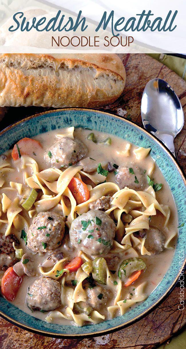 Swedish Meatball Noodle Soup @FoodBlogs