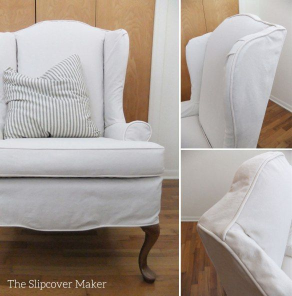 Wingback chairs never go out of style. But upholstery color and patterns do. A versatile, neutral color slipcover can fix that! For this custom-fit cover, my customer chose Carr Go Canvas in color…