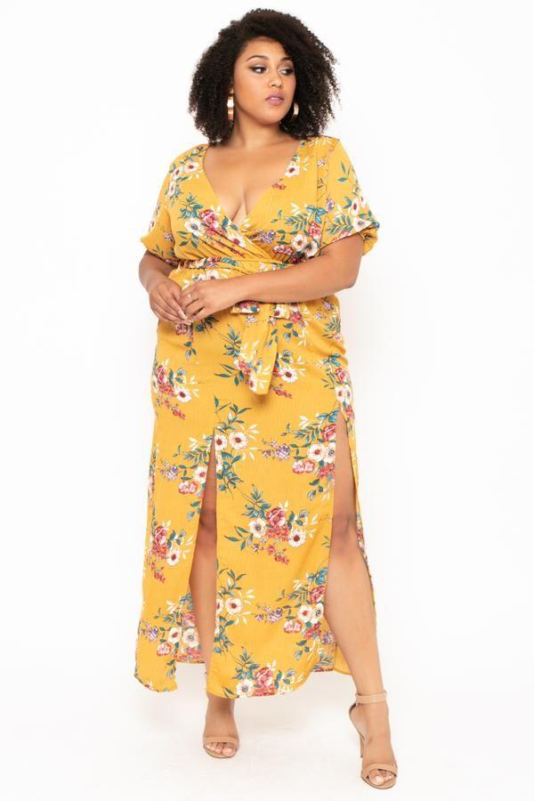 d01d72d3318 Plus Size Floral Maxine Dress - Mustard