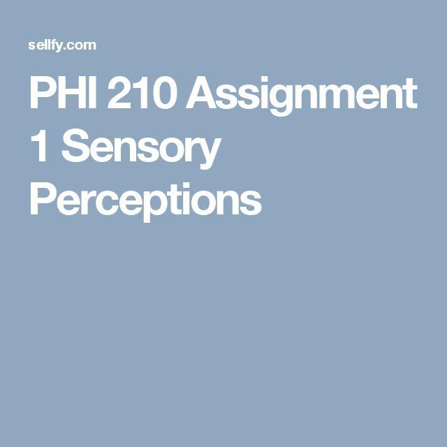 PHI 210 Assignment 1 Sensory Perceptions