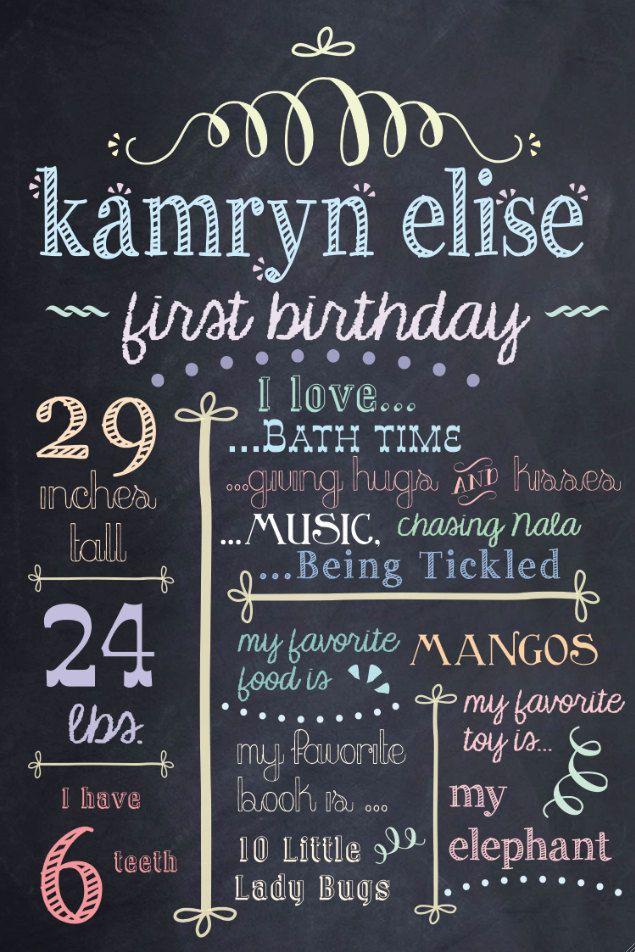 "PERSONALIZED & CUSTOM ""Favorite Things"" Digital Chalkboard Poster, Sign, First, Birthday, Baby, Child, JPG File, Print. $30.00, via Etsy."