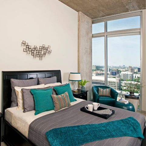73 best neutral bedroom with pop of color turquoise teal - Turquoise and gray bedroom ideas ...