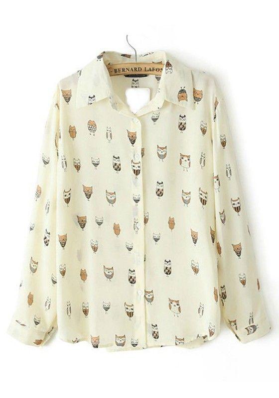 Beige Animal Print Long Sleeve Cotton Blend Blouse