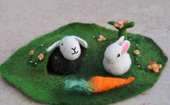 Waldorf Easter Play Mat Nature Small 3D Landscape by FeltedbyBetti