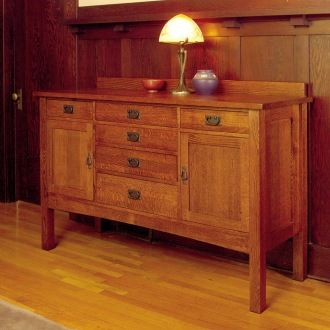 American Craftsman Grand Sideboard. Hand Crafted Using Solid North American  Red Oak. Hand Rubbed