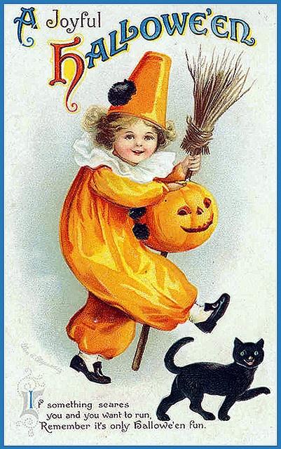 A Joyful halloween, Vintage Halloween Postcard