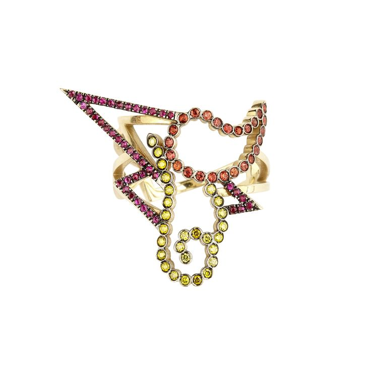 "Yellow gold ""Josephine"" ring with lemon diamonds, rubies and orange sapphires www.lito-jewelry.com"