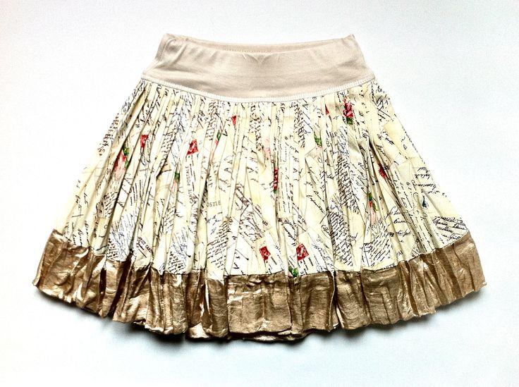 French Love Letters Print Cotton Skirt w/ Glimmer Satin Trim | KAF KIDS  51 Mackelvie Street, Grey Lynn, Auckland.  http://kafkids.co.nz/