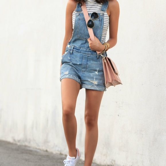 Madewell Denim Overalls Shorts Only worn once! Destroyed, light-medium denim wash, can fit xs or s. Cool large pocket in the front :) Madewell Shorts Jean Shorts
