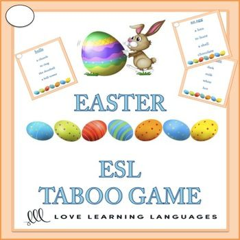 Play this ESL EASTER theme Taboo game and have some fun! Playing games and having fun is when learning really happens in ESL class. I love to play the game Taboo with my students. ESL taboo is a game that is easy to modify and use with beginners and advanced students alike. 8 of the 32 cards are religious in nature.