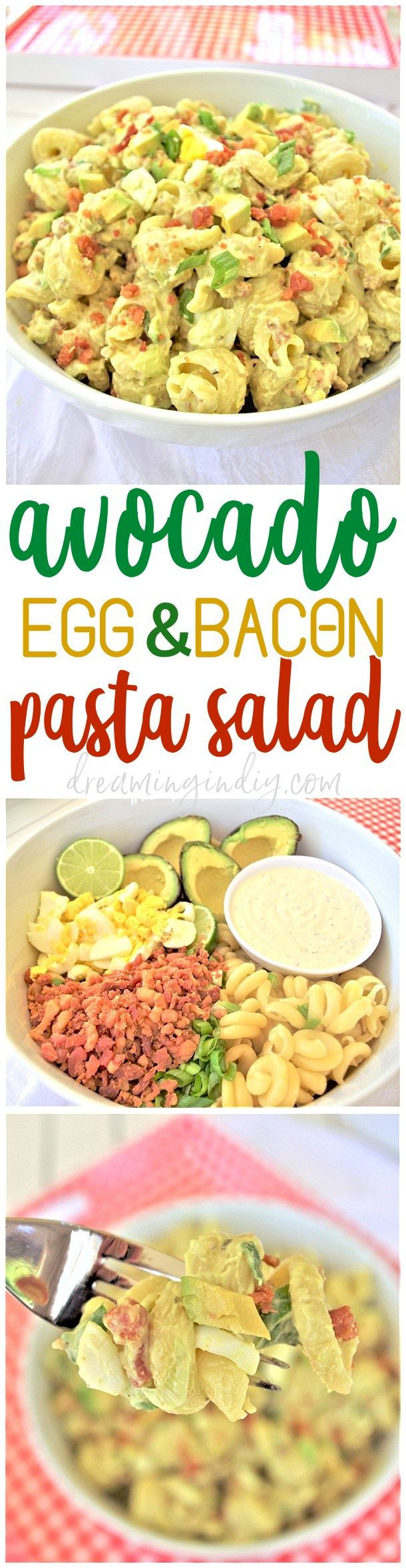 Avocado Egg and Bacon Pasta Salad Side Dish Recipe by Dreaming in DIY - This is the perfect easy and delicious pasta salad side dish. Bring it to 4th of July holiday celebrations, summer cookouts, fall tailgating lunch spreads, potlucks and backyard dinner parties! It tastes amazing immediately and even better after a few hours in the fridge!