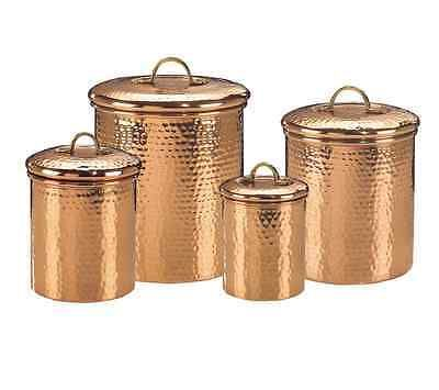 4 piece kitchen canister set copper jars coffee sugar flour tea cookie metal new product description:with this copper canister set you can store your flour, sugar and other commodities safely....