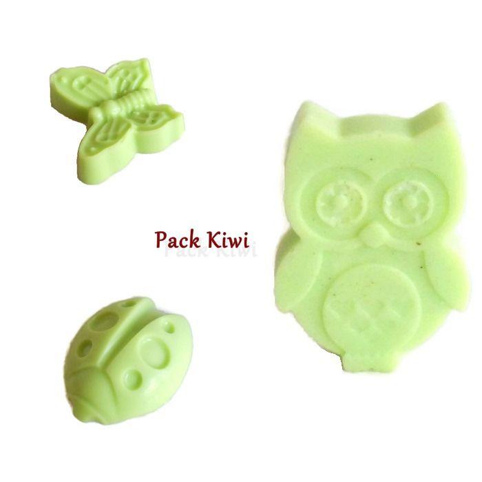 Pack 3 Fondants Parfumés Kiwi Hibou Papillon Coccinelle Cire Végétale Naturelle Cire à Fondre Parfum d'ambiance : Luminaires par fondants-de-cire-parfumes-fleur-artifice