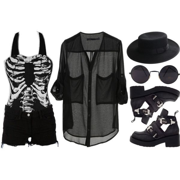 Summer Goth by deca-froses on Polyvore featuring J Brand, Jeffrey Campbell and Diane Von Furstenberg