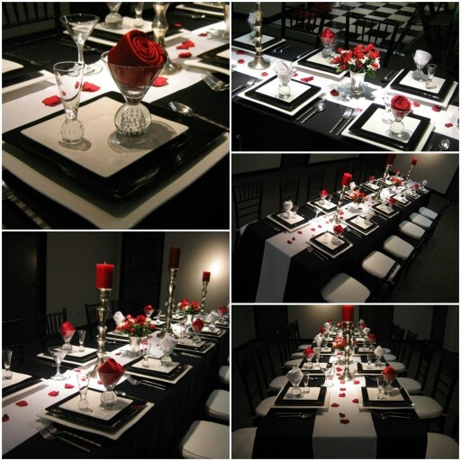 Red and black wedding - love the modern square plates and chargers.