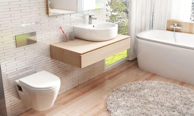 Stylowa łazienka z elementem drewna.