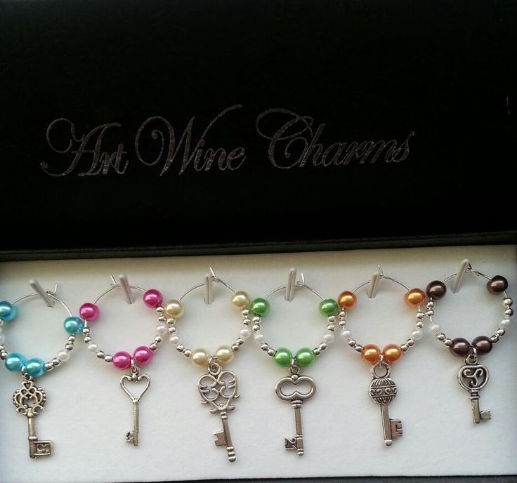 6 Unique Key themed Wine Charms by PickinsGalore on Etsy