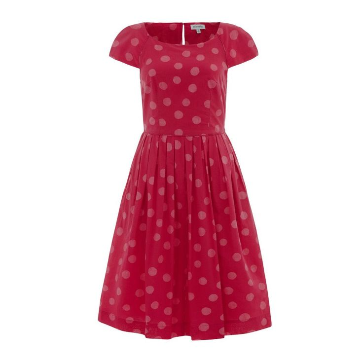 Emily & Fin Claudia Pink Splattered Spot Dress, $159  pink - retro - vintage - indie - ethical fashion - spotty - sleeves - fit n flare