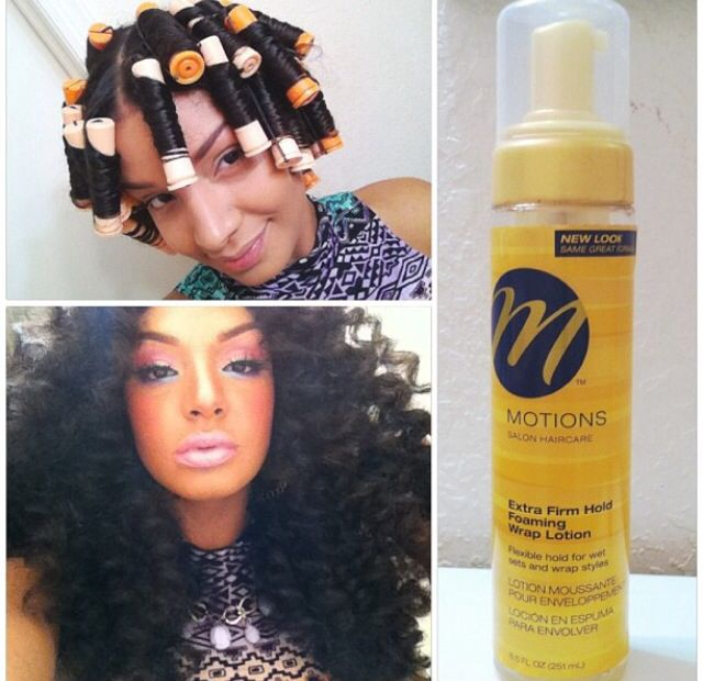 Perm rod curls. Apply Motions foaming wrap lotion to dry hair(sections at a time) roll hair into the perm rod. Let it air dry or dry it under a dryer. (Minutes depends on texture, length and amount of hair) #muchmorethanbeauty