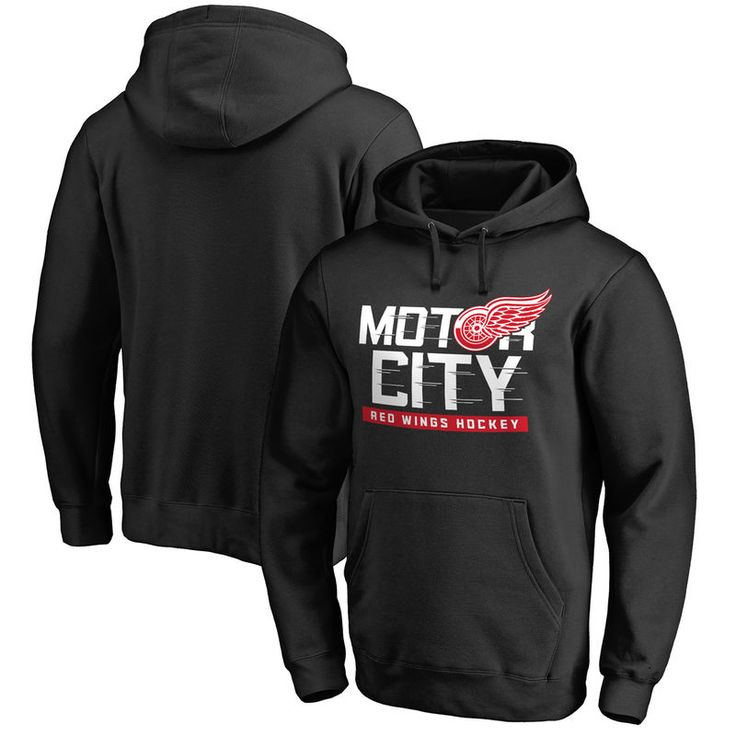 Detroit Red Wings Fanatics Branded Big & Tall Hometown Collection Motor City Pullover Hoodie - Black