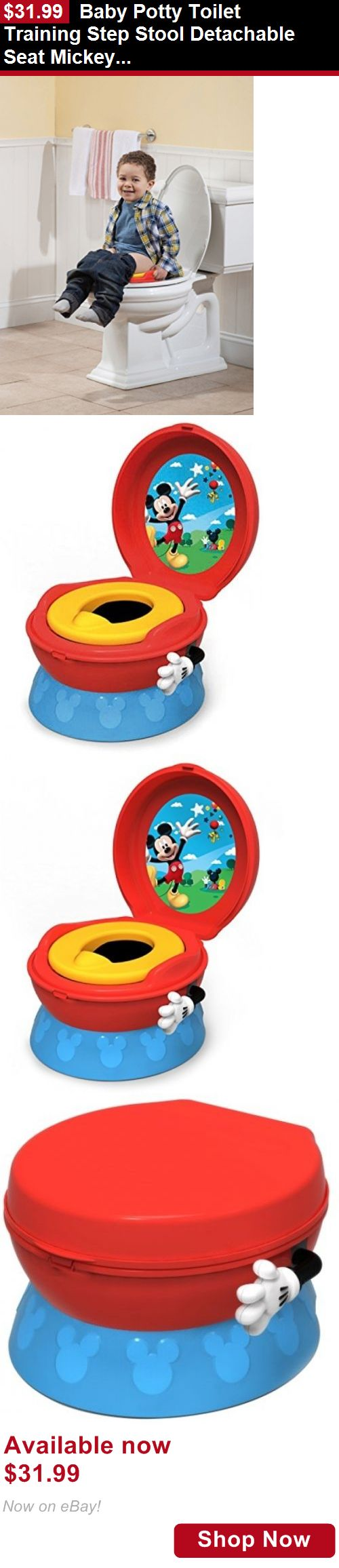 Potty Training: Baby Potty Toilet Training Step Stool Detachable Seat Mickey Mouse Kid Bathroom BUY IT NOW ONLY: $31.99