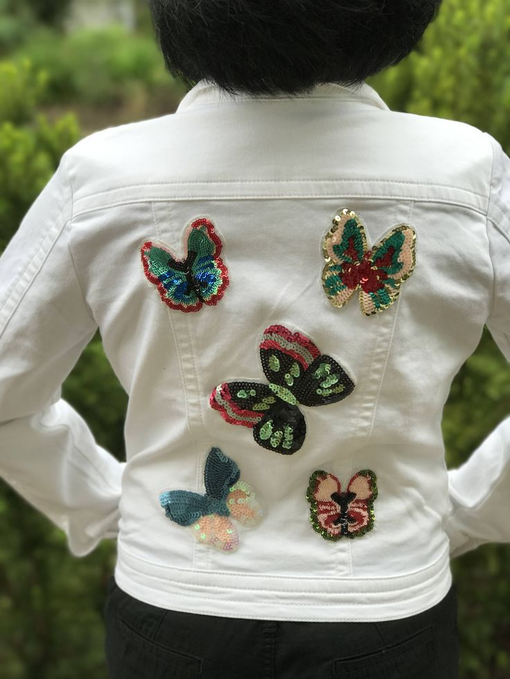 The Butterfly Garden: Sequin Embroidered Butterflies, Denim Jacket embellished with sequin colorful Butterflies, boho chic Jacket by Theartofdenim on Etsy