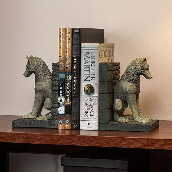 ThinkGeek :: Game of Thrones Stark Direwolf Bookends. I have no clue about game of thrones but love the look of these