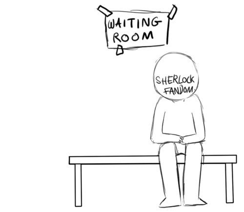Best (GIF) about BBC ever. omgosh this is truly the perfect depiction! It's funny cuz the sherlock fandom has been there for a really long time and just looks sad like its gotten used to waiting, and doctor who comes in (sorta crying) and sherlock just comes over and says oh it's ok it'll be over soon...