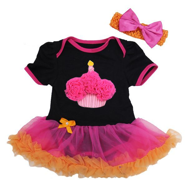 Black, Pink and Orange 1st Birthday Cupcake 2 Piece Onesie Baby Tutu Outfit
