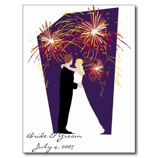 Bride & Groom Save the Date-July 4th Weddings Postcards
