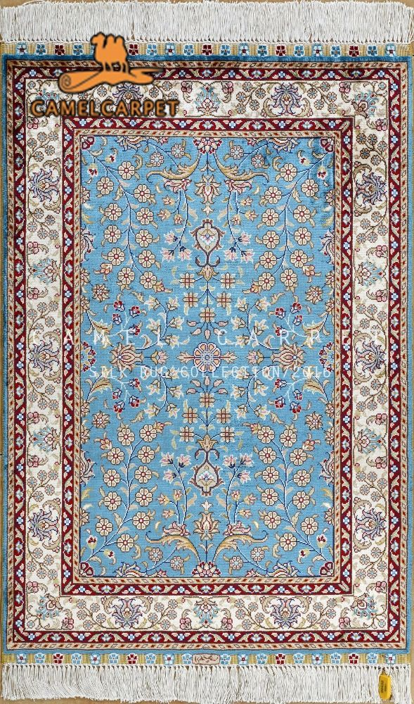 Blue Persian Rug Carpet Yellow Color Pink Beige Material Four Seasons Prayer Knots