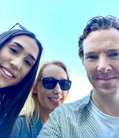 Benedict with fans at a vegan festival at Randall's Island Park in NY. 1 Oct 2017