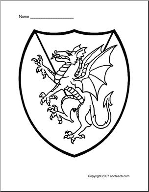medieval classroom theme | of 1 coloring page medieval shield dragon herald medieval dragon ...