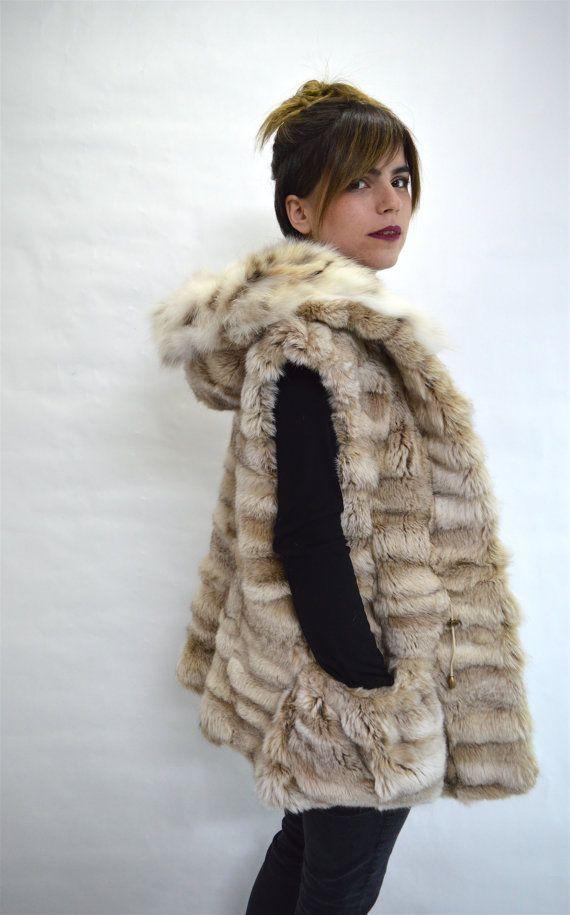 Real fur vest nude fox fur vest white fur vest genuine by BeFur