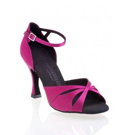 Chaussures danse salon rose violet en satin