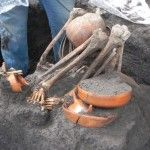 La ampliación de la línea 12 del Metro sacó a la luz vestigios prehispánicos, entre ellos tres cráneos humanos y uno de perro colocados en un tzompantli