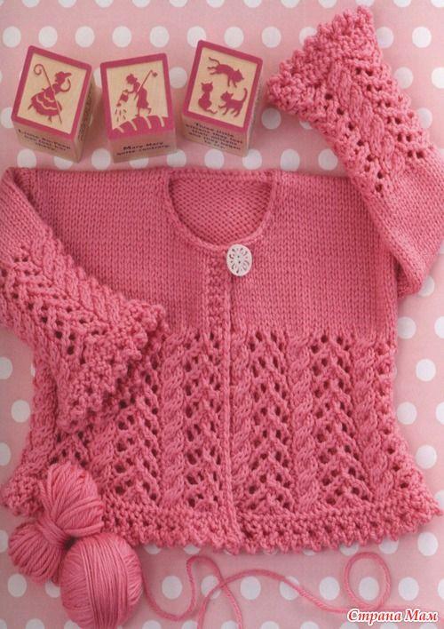 Eu que Fiz - Vovó Baisa: Casaquinho para bebê - ponto ajurado e rosa antigo