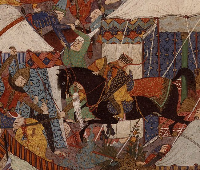 The Besotted Iranian Camp Attacked by Night. ca. 1525–30. Safavid Persia, Tabriz. Detail. Opaque watercolor, ink, silver, gold on paper