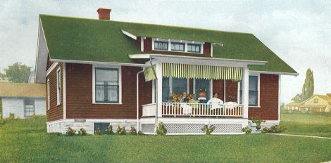 Craftsman exterior colors a c1917 illustration of a brown - Exterior paint colors with green metal roof ...