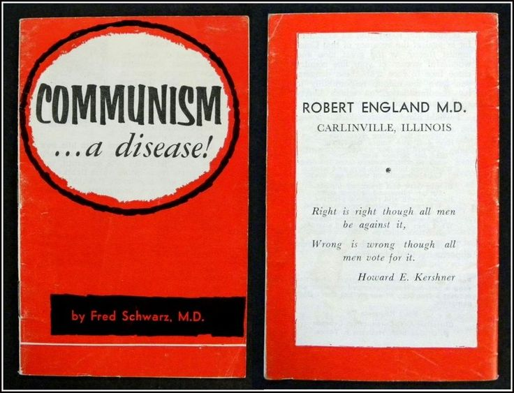 COMMUNISM . . . a disease! 1950's Vintage Red Scare Booklet by Fred Schwarz 1959