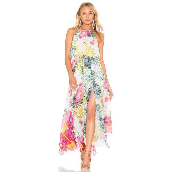Bishop + Young Floral Maxi Dress (2 650 ZAR) ❤ liked on Polyvore featuring dresses, red halter dress, halter neck maxi dress, beaded dress, maxi dresses and red halter top