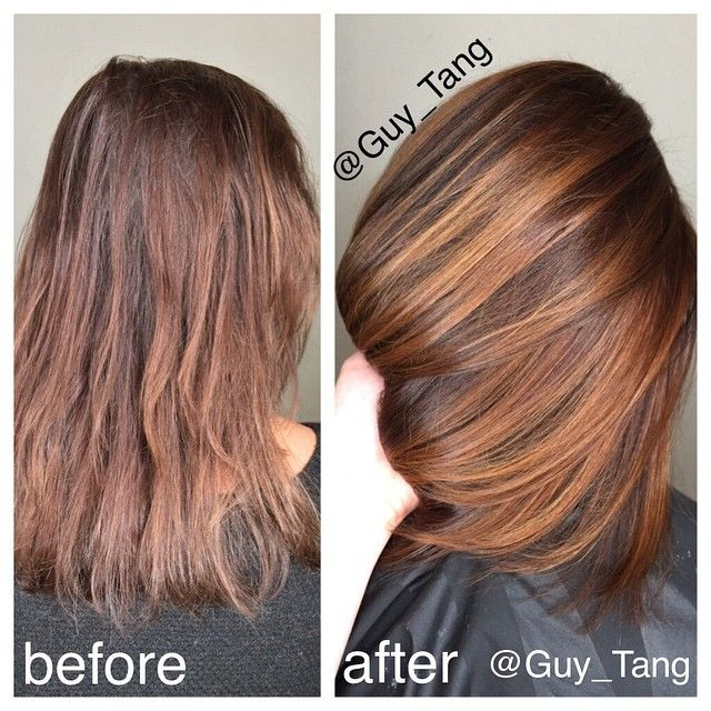 My client Melissa loves #Gold and #Bronze tones because it compliments her skin tone and also looks shinier! Although #ash and #silver tones are coveted amongst many! I am digging #gold tones this year! Formula #Redken 5Gb 20vol at regrowth and #balayage with 40vol lifted to a level 8gold, gloss over with 8gg #redkenshadeseq #guytang #balayage
