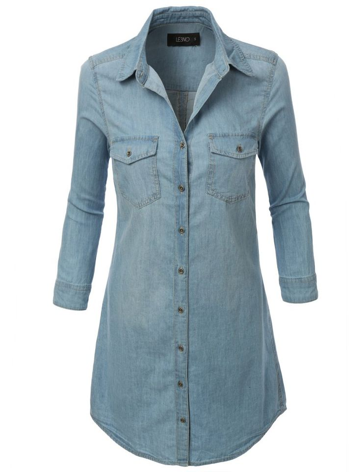 LE3NO Womens Cuffed 3/4 Sleeve Chambray Denim Shirt Dress